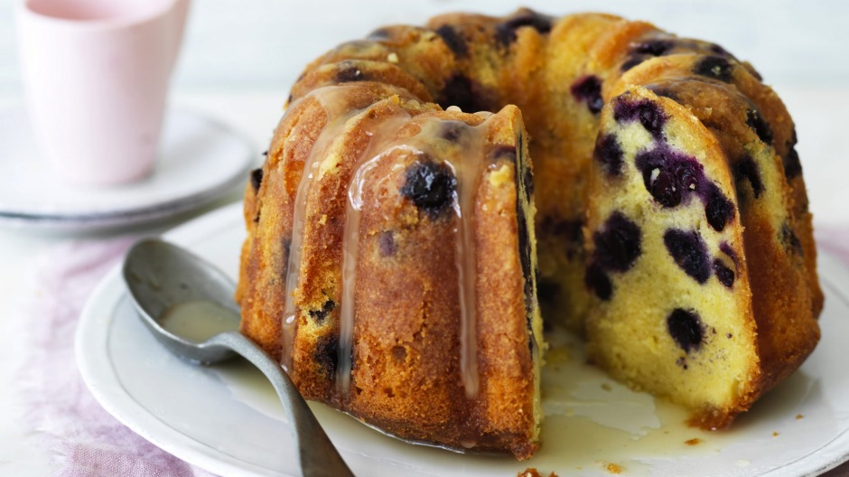 Lemon and blueberry cream cheese pound cake (pictured with an optional lemon icing).