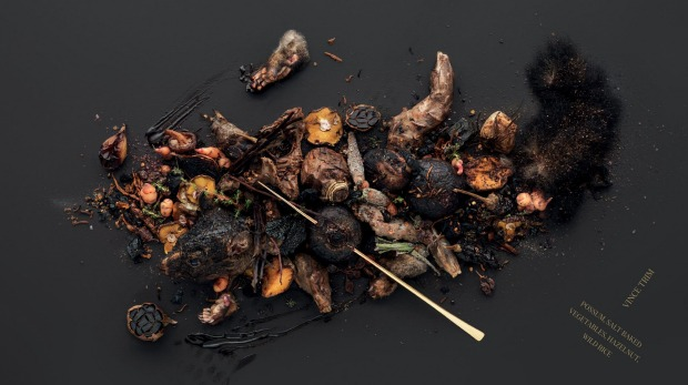 A meal of possum, salt-baked vegetables, hazelnut and wild rice by chef Vince Trim.