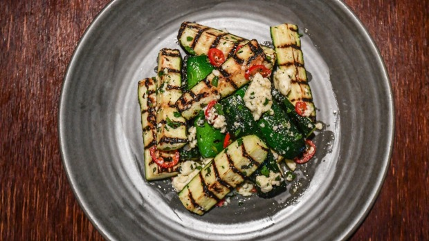 Grilled zucchini with chilli and feta.
