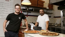Raphael Guthrie and Steve Kimonides of Slice Shop Pizza in Footscray.
