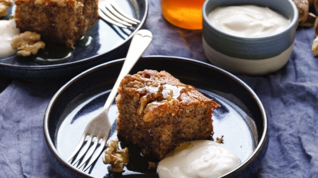Greek walnut cake with honey yoghurt.