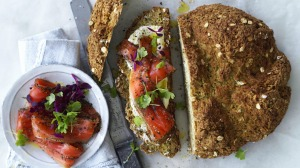 Serve this soda bread with smoked salmon, cream cheese and microherbs (as pictured) for a feast.