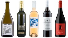From left: Chalmers Felicitas 2016; Jones Winery & Vineyard Fiano 2017; Chalmers Rosato 2018; Yarra Yering Dry Red No.3 ...