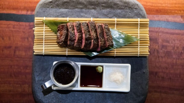 Good Food. Terry Durack review at Gaku Robata Grill in Darlinghurst.  Robata Australian wagu with black pepper sauce, Wasabi soy and sea salt. 18th April 2019.  Photograph by Edwina Pickles.