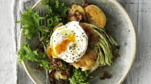 Potatoes, egg and greens become a beautiful meal with the addition of a punchy mustardy and bacon-y dressing.