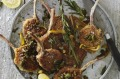 Crumbed lamb cutlets in rosemary, olive and lemon butter.