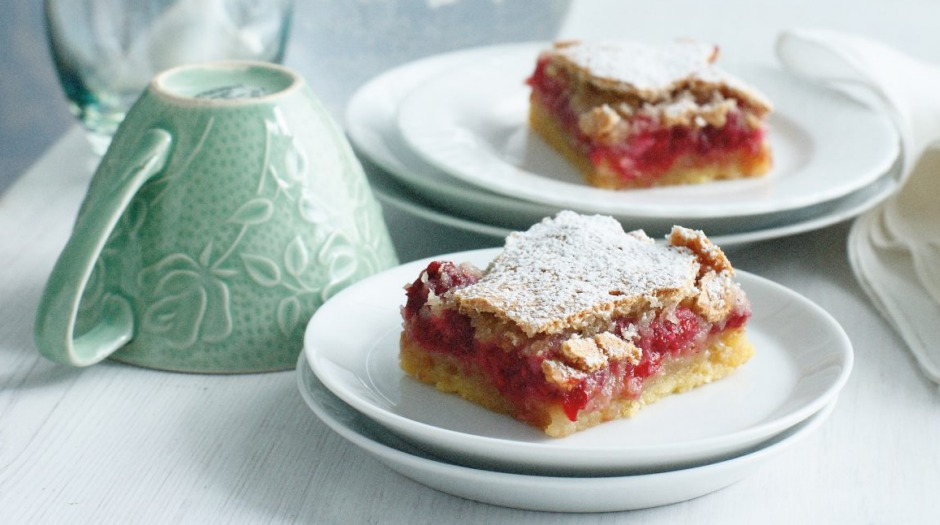 Twice as nice: Raspberry and coconut slice.