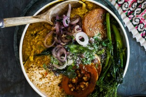Like a hug in a bowl: Peshwari topped dhal with curry-roasted pumpkin and greens.