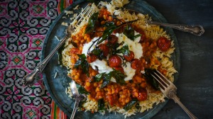 Tomato dhal topped with yoghurt and panch phoran roasted tomatoes.
