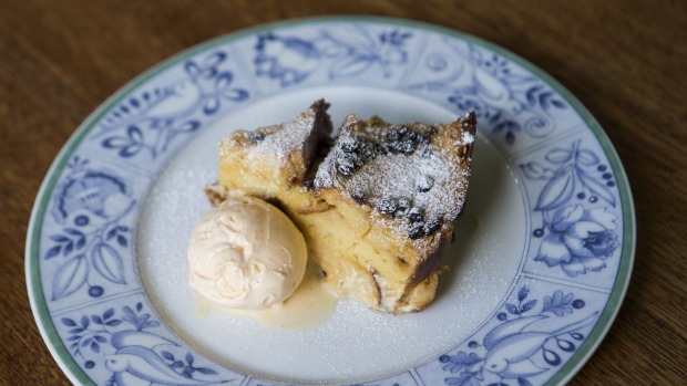 Bread and butter pudding with vanilla ice-cream.