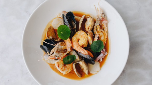 'Brodetto di Pesce' with scampi, king prawn, clams, mussels, scallop and squid.