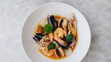 Brodetto di pesce with scampi, king prawn, Cloudy Bay clams, Port Arlington mussels, scallop, squid and prawn broth.