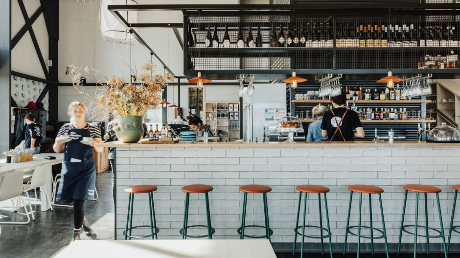 The modern warehouse space is a one-stop food destination.