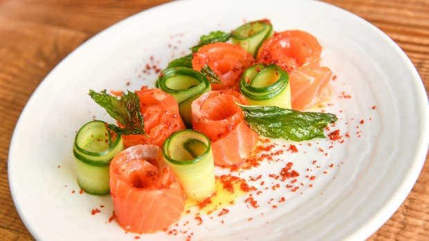House-cured Ora king salmon with citrus and cucumber.