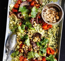 Roasted cherry tomato and cashew cous cous.