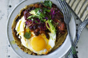 Put an egg on it! Chilli-fried black beans.