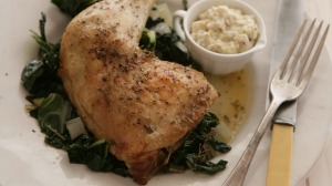 Speedy roast chicken with bread sauce and silverbeet.
