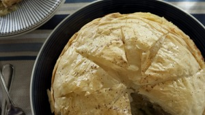 Chicken pie with flaky filo pastry.