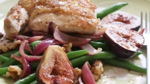 Roast chicken with balsamic figs.