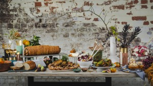 An autumnal buffet with porchetta and trifle (far right) 'heroes'.