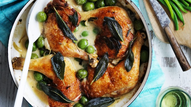 Neil Perry's chicken marylands with olives and sage.