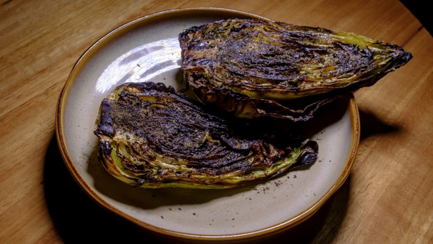Cabbage caramelised over coals in nori butter.