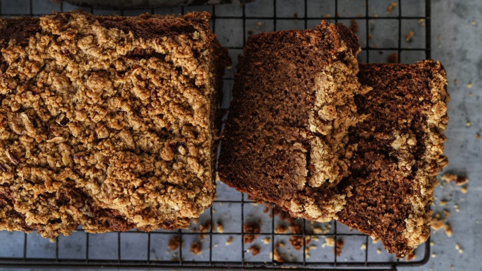 Persimmon cake with pecan crumble.