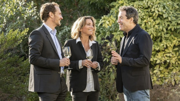 Stanislas Thienot, Garance Thienot and Peter Gago celebrate the release of Thienot x Penfolds champagne to mark Penfolds ...