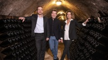Stanislas Thienot, Penfolds chief winemaker Peter Gago and Garance Thienot in the Thienot Cellar.