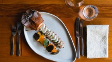Bay lobster with persimmon and shiso.