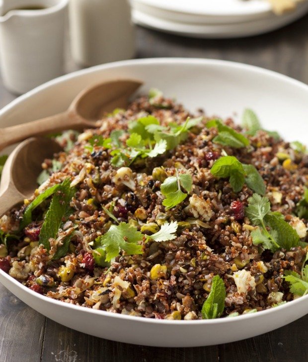 Quinoa and red rice salad with spicy cauliflower and black lentils.
