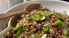 Quinoa, red rice and black lentil salad with spicy cauliflower.