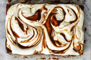 Banana tray cake with cream cheese icing and miso caramel.