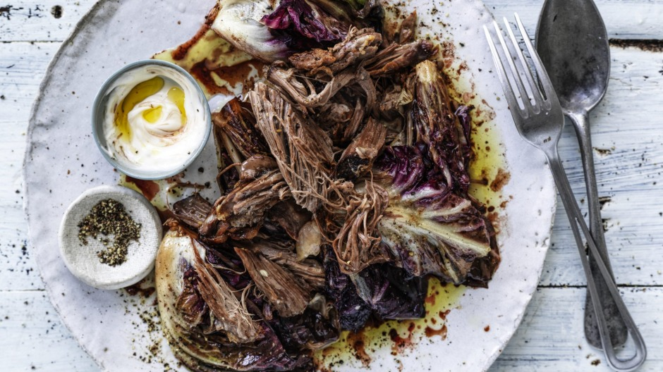 Slow roast lamb shoulder with balsamic-braised radicchio and aioli