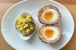 Scotch egg with a sausage mince of pork neck, bacon, sage and white pepper.