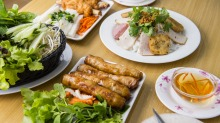 Spring rolls, sugar cane prawns and fresh rice pastry with fresh herbs and dipping sauce at Phu Quoc, Cabramatta.