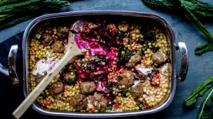 One-tray wonder: Lamb meatballs with moghrabieh.