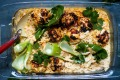 Chicken meatballs with coconut rice, herbs, bok choy and spicy mayo.