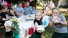 """Erskineville Public School students will be serving up """"democracy souvlakis"""" on election day in Sydney. L-R are Matthew ..."""