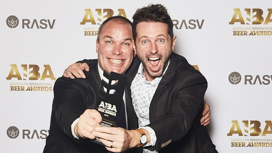 Chris Willcock, chief brewer from 4 Pines Brewing Company and Mont Stuart celebrate at the Australian International Beer ...