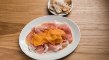 Culatello, salted persimmon, gnocco fritto at Agostino.