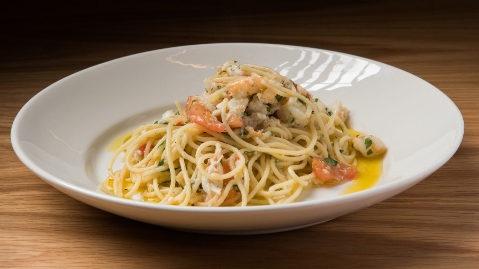 Go-to dish: Spaghettini with prawn, crab and soave.