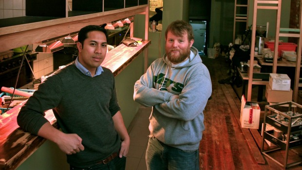 Manu Potoi and Casey Wall at Rockwell & Sons shortly before it opened in 2012.