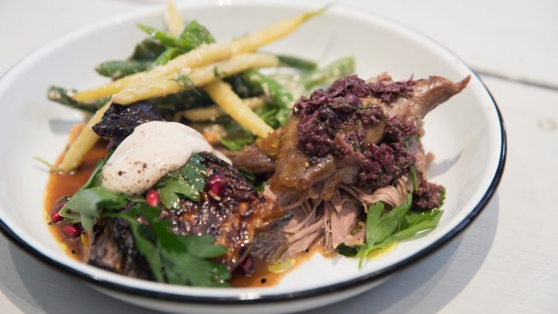 Slow roast lamb with two salads.