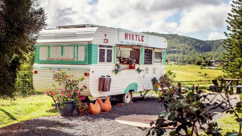 Hinterland Feijoas has a retro van serving organic coffee and food.