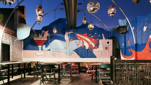 The rooftop beer garden at Bimbo, with a mural by Celeste Mountjoy (Filthy Ratbag).