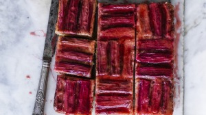 Helen Goh's upside-down cake decorated with alternating rhubarb stalk stripes.