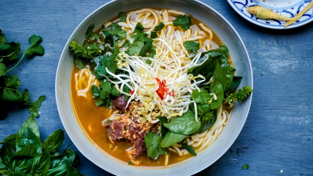 Lemongrass, ginger and garlic beef pho (noodle soup). Flu fighters recipes for Good Food May 2019. Please credit Katrina ...