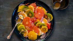 This colourful savoury (or sweet) fruit salad is packed with Vitamin C.