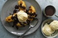Old-school redux: Banana fritters with cinnamon chocolate sauce.